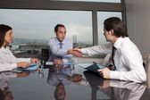 Business agreement among businesspeople — Stock Photo