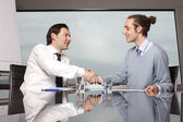 Consultation with male financial adviser in a nice office — Stock Photo
