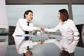 Handshake during business interview — Stock Photo