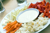 Raw vegetable in pieces with dip — Stock Photo