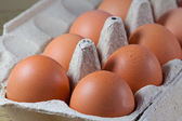 Egg carton with fresh brown eggs — Stock Photo