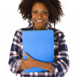 Female afro american with a job application — Stock Photo