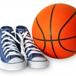 Stock Photo: Blue sport shoes and basketball