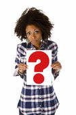 Young woman with question mark — Stock Photo