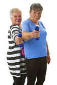 Female seniors with dumbbell — Stockfoto