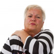 Female senior with neck pain — Stock Photo
