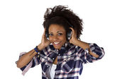 Young afro american with headphones — Stock Photo