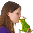 Beautiful woman with frog prince — Stock Photo #5482542