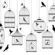 Vintage birdcages with birds — Imagen vectorial