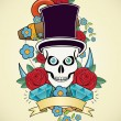 Royalty-Free Stock Vector Image: Skull and roses, Colorful Day of the Dead card