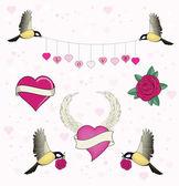 Heart and birds — Stock Vector