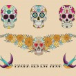 Set of skulls in mexican tradition — Stock Vector