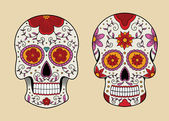 Vector illustration set of skulls in mexican tradition — Stock Vector