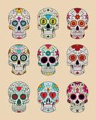 Vector illustration set of skulls in mexican tradition — Stock Vector