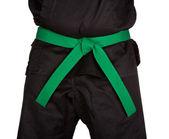 Karate Green Belt Tied Around Torso Black Uniform — Stock Photo
