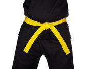 Karate Yellow Belt Tied Around Torso Black Uniform — Stock Photo