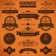 Vintage labels and ribbon retro style set. Vector design elements. — Stock Vector #25446935
