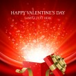 Gift present with confetti hearts Valentine's day vector background eps 10 — Imagens vectoriais em stock