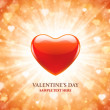 Heart shape and light ray Valentines Day background — Stockvektor