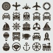 Vintage retro icons transport set. Vector design elements. — Imagen vectorial