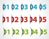 Diseño elementos eps 10 números y papel cortado. — Vector de stock