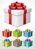 Gift box with bow and ribbon set. Vector illustration eps 10. — Stock Vector