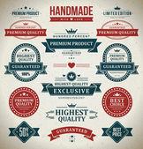 Vintage labels and ribbons set. Vector design elements. — Vector de stock