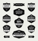 Vintage labels or badges retro style set. Vector design elements. — Stok Vektör