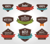 Vintage labels and ribbon retro style set. Vector design elements. — Stockvektor