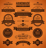 Vintage labels and ribbon retro style set. Vector design elements. — Stock Vector