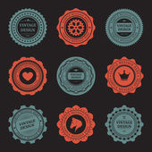 Vintage style retro emblem label collection. Vector design elements. — Stok Vektör