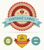 Vintage etiketleri ve şerit kümesi. vektör tasarım öğeleri. — Stok Vektör