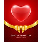 Heart and golden bow ribbon Valentine's day vector background eps 10 — Stock Vector