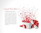 Open hart gift en confetti harten. vector illustratie eps 10. eenvoudig vervangen achtergrond. — Stockvector