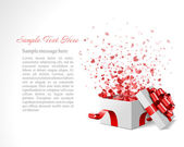 Open heart gift and confetti hearts. Vector illustration eps 10. Easy replace background. — Stock Vector