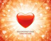 En forma de corazón y luz rayo fondo de día de san valentín — Vector de stock