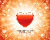 Heart shape and light ray Valentines Day background — Stock Vector