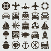 Vintage retro icons transport set. Vector design elements. — Stock Vector