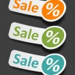 Vector sale stickers set. Transparent shadow easy replace background and edit colors. — Stock Vector