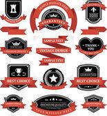 Vintage etiketleri veya rozetleri ve şerit retro tarzı ayarlayın. vektör tasarım öğeleri. — Stok Vektör