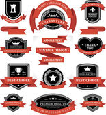 Vintage labels or badges and ribbon retro style set. Vector design elements. — Stok Vektör