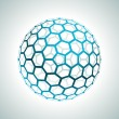 Stock Vector: Abstract hexagonal 3d sphere vector background