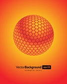 Abstract 3d orange honeycomb sphere vector background — Stock Vector