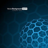 3d wire hexagonal sphere vector background — 图库矢量图片
