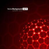 3d wire hexagonal sphere vector background — Stock Vector