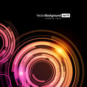 Abstract technology circles and light effects vector background — Stock Vector