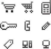 Vector pixel icon set — Stock Vector