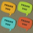 Vintage speech bubble with thank you message set on old textured paper. Vector illustration Eps 10. — Stock Vector