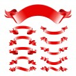 Red shiny banners set. Eps 10. — Stock Vector #25629657