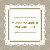 Vintage invitation greeting card with ornament and old textured pattern. Vector background Eps 10. — Stockvektor